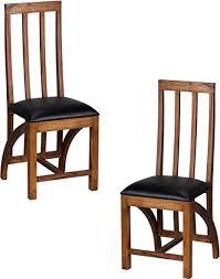 wohnling esszimmerstühle 2er set massiv holz sheesham küchen stühle leder optik schwarz holzstühle dunkel braun landhaus stil essstühle mit lehne