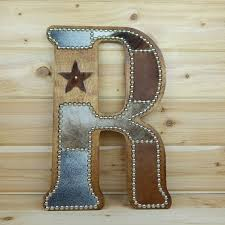 Cowhide Wall Letter R Western Home Decor Wall Hanging Cowboy