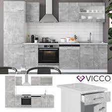 vicco küche r line 300cm beton mit arbeitsplatten