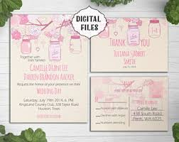 DIGITAL Wedding Invitation Mason Jar Printable Pink Invite Digital