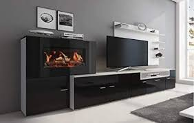 home innovation wohnmöbel mit elektrischem kamin mit 5 flammenstufen oberfläche weiß mate und schwarz lackiert maße 290 x 170 x 45 cm tief