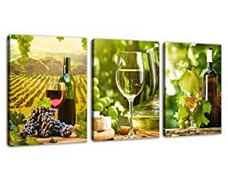 Kitchen Art Canvas Prints Grapes Wine Bottles Pictures For Wall Decor