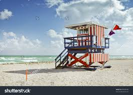 Beach Lifeguard Chair Plans by Miami Beach Florida Colorful Lifeguard Building Stock Photo