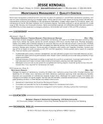 Maintenance Manager Resume Simple Example Job Professional