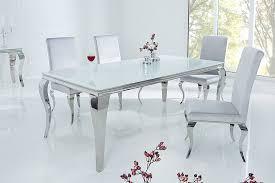 riess ambiente esstisch modern barock 180cm weiß tischplatte aus opalglas edelstahl beine für 8 personen kaufen otto