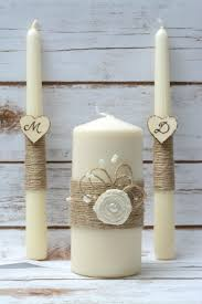 Rustic Wedding Candles Unity Candle Set Ideas With Burlap Linen Roses Lace