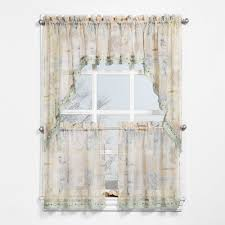 Kitchen Curtains At Walmart by Seascape Textured Sheer Printed Curtain Swag Walmart Com