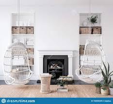 gemütliches weiß wohnzimmer innen mit schwankungen