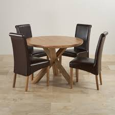 Natural Real Oak Dining Set Round Table 4 Brown Leather Fabric ... Oak Round Ding Table In Brown Or Black Garden Trading Extending Vintage And Coloured With Tables Glass Square Wood More Amart Fniture Serene Croydon Set 4 Marlow Faux Leather Eaging Solid Walnut And Chairs White Outdoor Winston Porter Fenley Reviews Wayfair Impressive 25 Levualistecom Amish Merchant Oslo Ivory Leather Modern Direct Rhonda In Blacknight Oiled Woood Cuckooland Chair Seats Round Extending Ding Table 6 Chairs Extendable