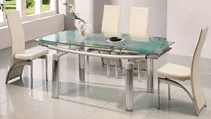 Stainless Steel Dining Table For 6 With Glass Top White Chairs In Modern Small Space Room