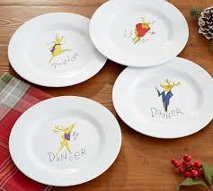 Reindeer Melamine Salad Plates Mixed Set of 4