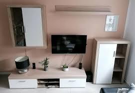 wohnwand wohnzimmer wand sonoma eiche weiß top zustand