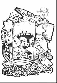 Spectacular Doodle Art Coloring Pages Monsters With And