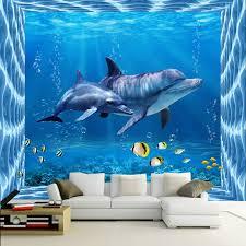 chambre dauphin moderne creative dauphin de monde sous marin 3d photo wallpaper