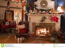 A Christmas Victorian Home Interior Living Room Fireplace With Tree In Dining Background