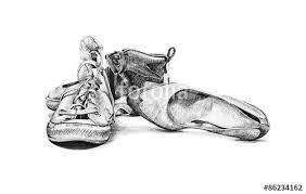 Hand Drawn Sketch Of Old Worn Shoes Vintage Tennis Canvas Style Fashion Ladies