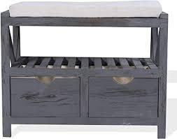mobili flurbank mit 2 schubladen 1 ablage sitzbank mit stauraum in grau vintage shabby chic schlafzimmer badezimmer maße 43 x 65 x 34
