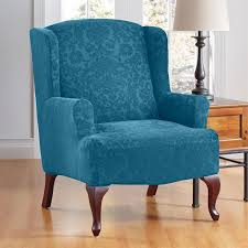 Stretch Suede Wing Chair Recliner Slipcover by Furniture Delightful Shine Wingback Recliner Slipcover With