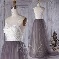 2016 off white lace bridesmaid dress charcoal gray wedding dress