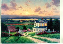 Peaceful Summer Sunset Gardens Farm Country Lights Fences Hill Flowers Sky Old Nature Roads Lush Scenery
