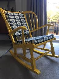 Vintage Yellow Wing Back Rocking Chair