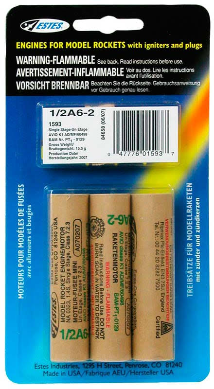 Estes 1/2A6-2 Model Rocket Engines - 3pk
