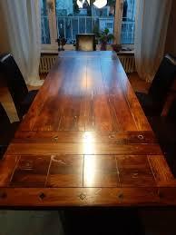 massivholztisch esstisch 6 lederstühle stuhl guter zustand