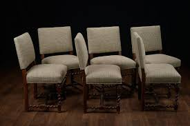 Upholstered Dining Chairs Set Of 6 by Set Of 6 Vintage French Walnut Low Back Dining Chairs At 1stdibs