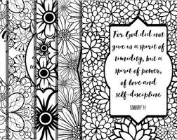 5 Bible Verse Coloring Pages Floral Frames Inspirational Quotes Adult DIY Instant Download Printable Party