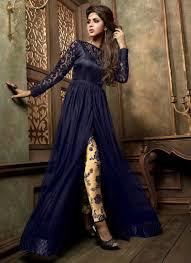 fancy look royal blue silk georgette salwar suit