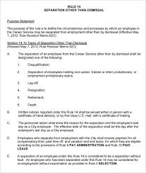 Separation Other Than Dismissal HR Rule Template