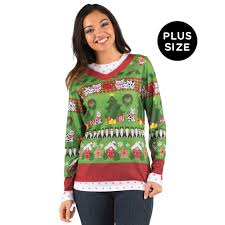 plus size ugly christmas sweater with cats for women buycostumes com