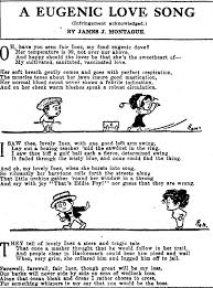 Lyrics To A Eugenic Love Song With Cartoon Images Of Man And Woman End