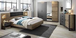 schlafzimmer komplett galen in eiche montana und matera grau komplettzimmer mit bett kleiderschrank kommode und 2x nachttisch