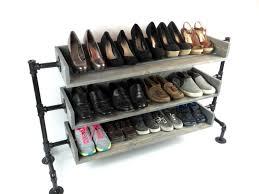 Pipe Shoe Rack Shoes Organizer Wood Industrial Rustic