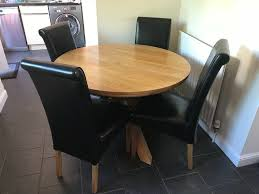 Round Oak Dining Table & 4 Black Leather Chairs - 1100mm / 3ft 7 Diameter |  In Ayr, South Ayrshire | Gumtree
