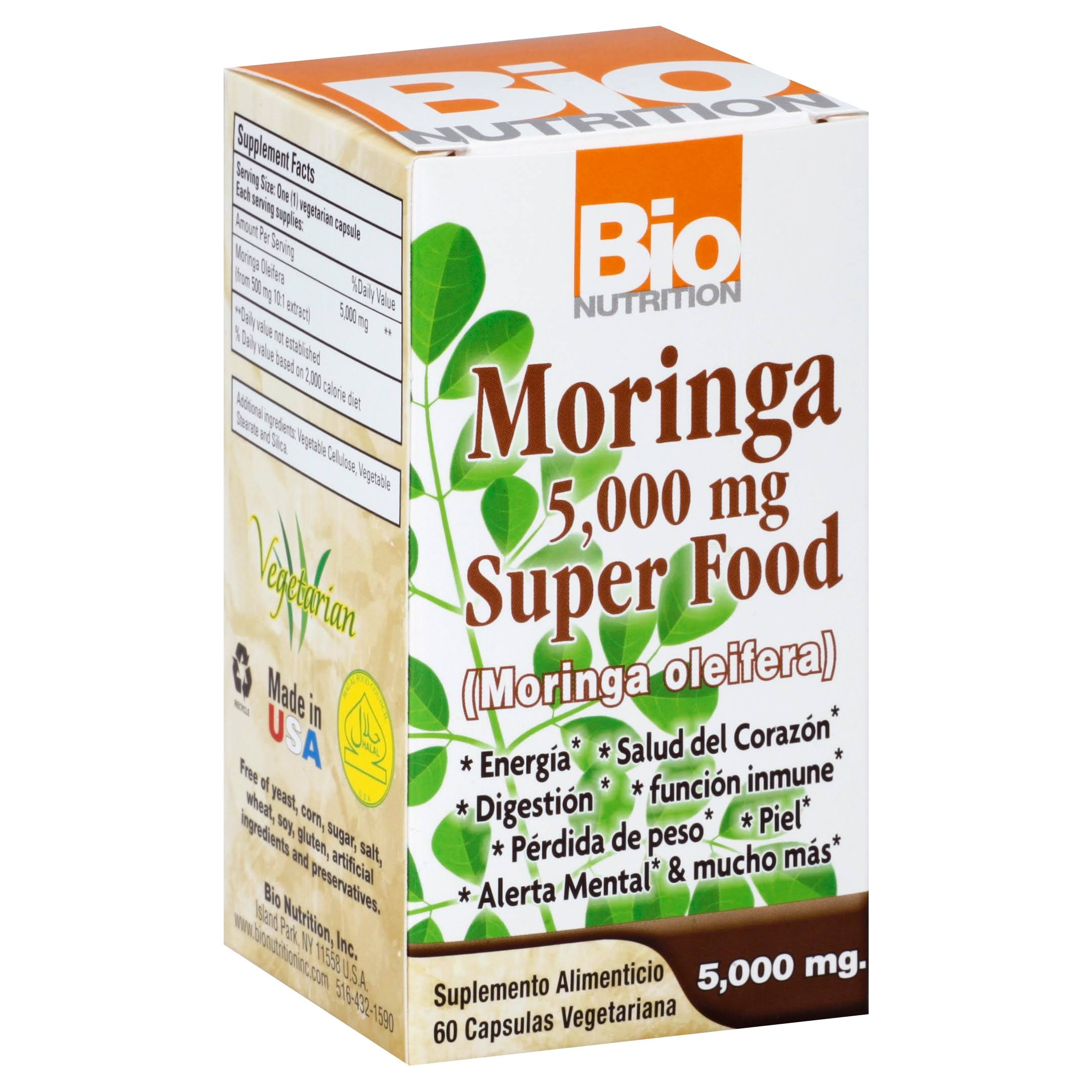 Bio Nutrition Moringa 5000mg Super Food Vegetable Capsules - x60