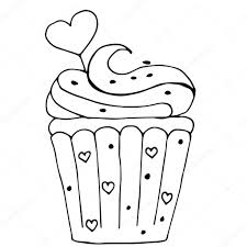 Cake with heart cupcake drawn in outline isolated on white back — Stock Vector