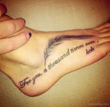 Feather And Wording Tattoo
