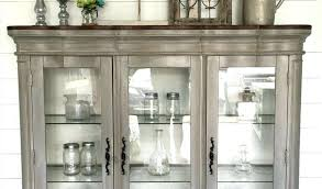 Download By Farmhouse China Hutch Cabinet Plans Dining Room With Chippy Window Corner Vintage Gray Shabby