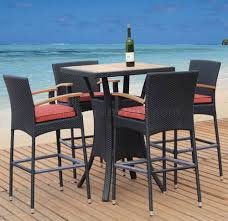 Dark Brown & Natural Teak Finish Modern 5Pc Outdoor Bar Set