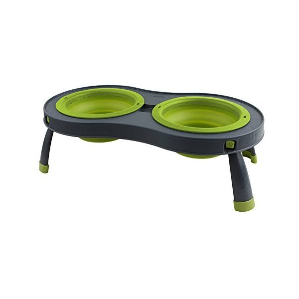 Dexas Popware Double Elevated Pet Feeder - Large, Green