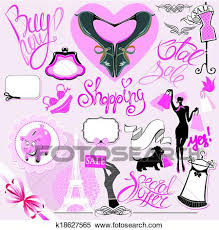 Clipart Of Set Silhouettes Glamor Clothes And Accessories