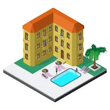 Download Scene Of Summer Rest In Isometric View With Hotel Resort Swimming Pool Sunbeds