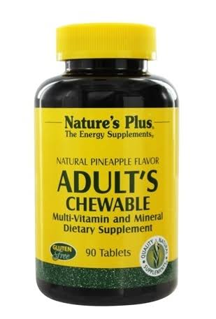 Nature's Plus Adult's Chewable Multi-Vitamin & Mineral Dietary Supplement - Pineapple, 90 Tablets