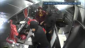 Gunmen Caught On Video Robbing South LA Taco Truck | Abc7.com La Pink Taco Los Angeles Best Food Cart Catering For Your Party Dallas Newest Truck The Trail Mexican In Ca Delicious Fun And Exciting In For The Dtla Art Walk Soho Taco Calle Tacos Vegetarian Vegan Orange County Youtube Phoenix Az Image Kusaboshicom Leos Loup The Knockout Truck Street Clipart Isjpg Cookies Website