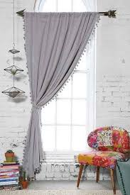 plum bow blackout pompom curtain urban outfitters grey