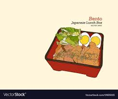Bento Japanese Lunch Box Hand Draw Sketch Vector Image