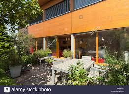 100 Modern Wooden House Design Veranda Of A Wooden House Modern Design Stock Photo