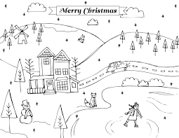 Winter Scene Christmas Holidays Coloring Pages
